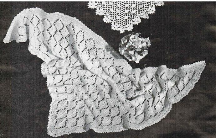 Beehive Knitted Leaf Triangular Head Shawl Vintage Pattern PDF digital pattern