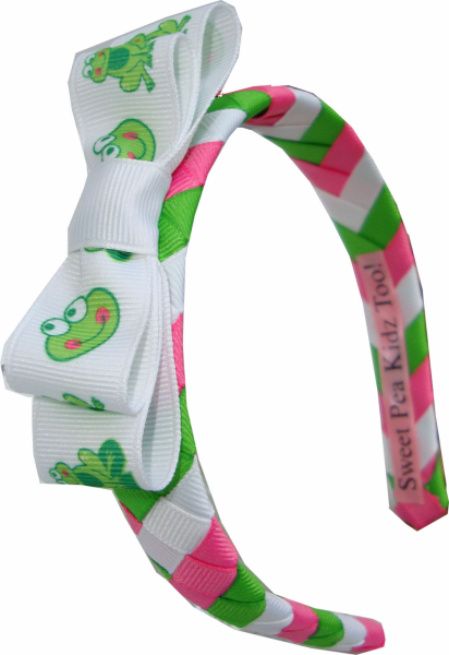 Frog Froggy Fans Woven Headband Set w Boutique Bow
