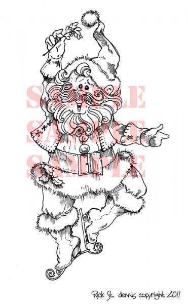 Mistletoe Santa digi stamp