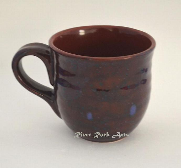 Large Blue-Spiced Terra Cotta Ceramic Mug