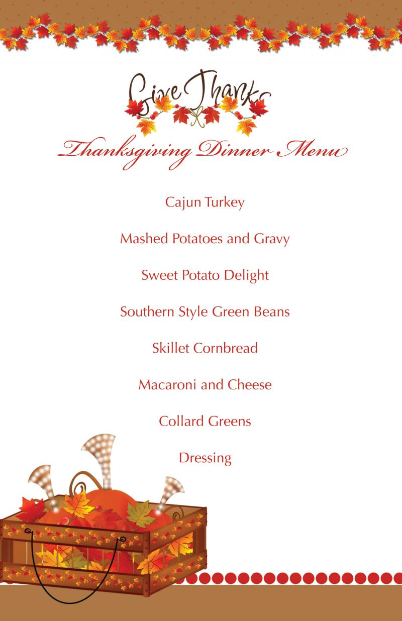 printable thanksgiving splendor menu