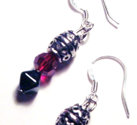 Siam Crystal & Bali Bead Earrings