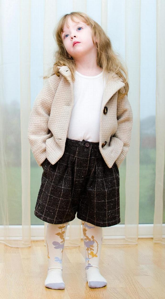Girls Boys White Natural color Wool Jacket - sweater