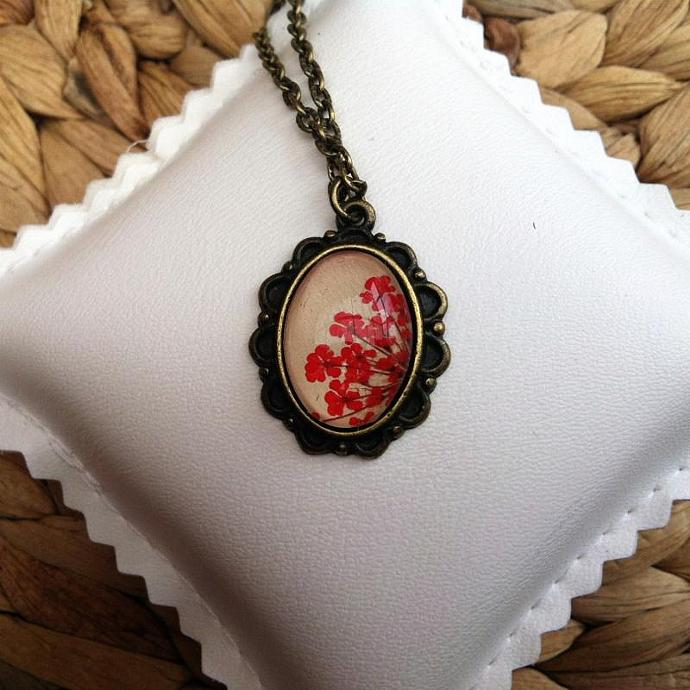red flower necklace with real pressed red dyed Queen Annes flowers and glass