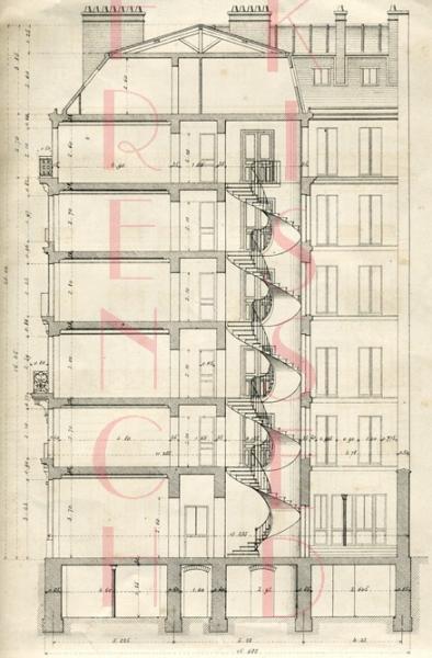 Digital scan antique blueprint stairs paris by frenchkissed on zibbet digital scan antique blueprint stairs paris architecture house april 1880 malvernweather Choice Image