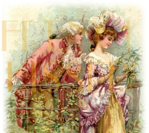 digital scan th century couple french frenchkissed digital scan 18th century couple french postcard r tic wall art