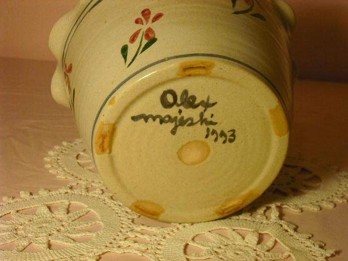 Alex Majeski Large Flower Pot Signed And Dated 1993