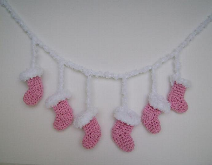 Custom Crochet Christmas Stocking Ornaments, for Tree or Package Decorations