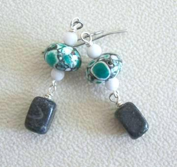 Handmade Snow Jade, Black Onyx Agate and Green Mosiac Turquoise Dangle Gemstone