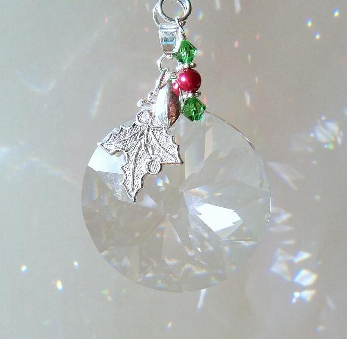 Sun Catcher Cranberries and Holly with Swarovski Crystals