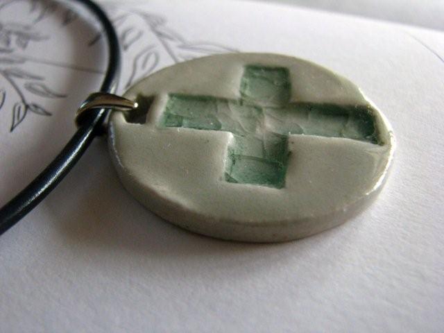 Circular Cross Pendant - White and Glassy Green