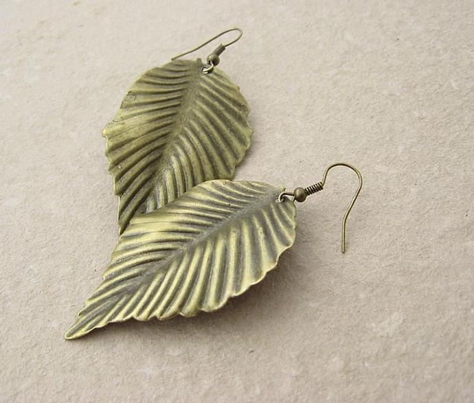 Bronze Leaf earrings: bold, lightweight, & earthy