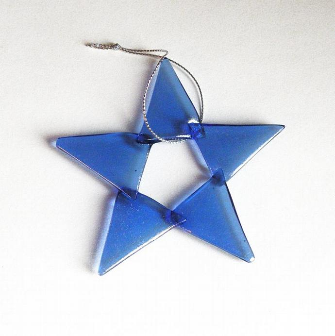 Handmade Glass Star Christmas Ornament, Light Blue Iridescent Art Glass