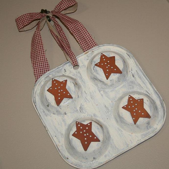 Small Primitive Muffin Tin Wall Hanging