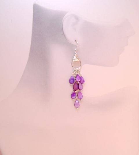 Passionate Purple Mother of Pearl Teardrop Waterf