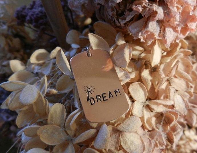 """Copper Dog Tag """"DREAM"""" Pendant - Hand Stamped"""