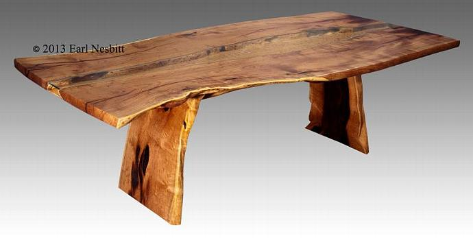 Solid book-matched mesquite slab dining table