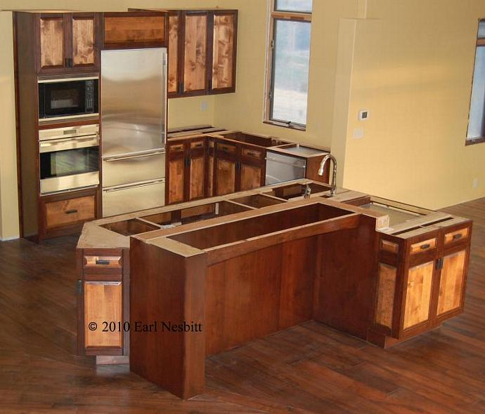 Kitchen cabinets and center island