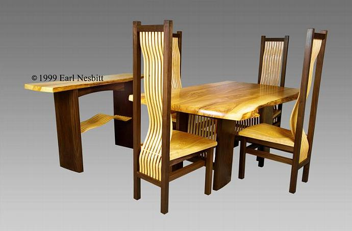 Table Chairs - Dining or Conference Table, Chairs, and Sideboard