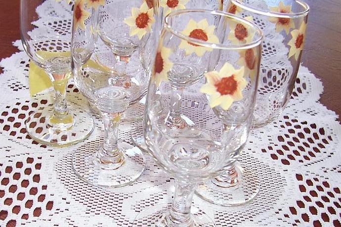 Sunflower Wine Glasses-Set of Six