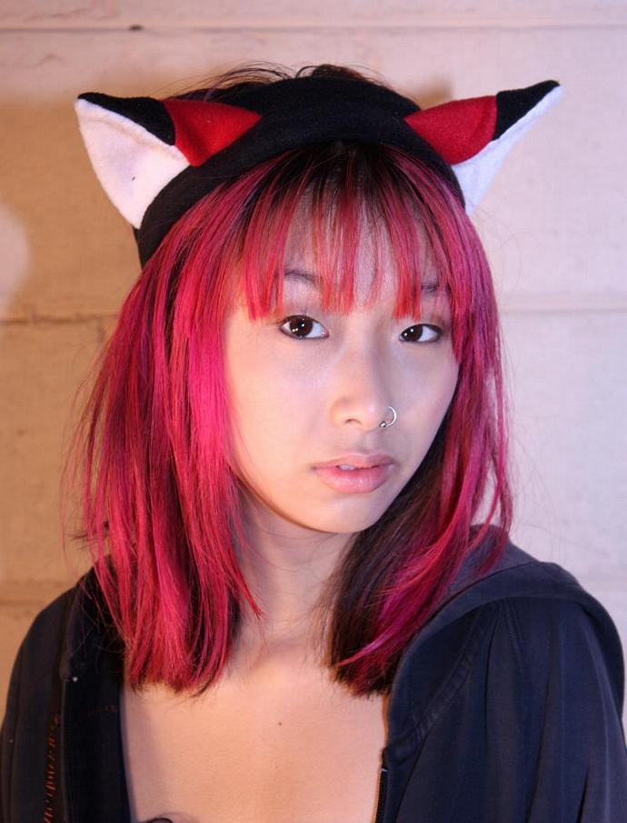 RED FOX EARS headband KITTY CAT cosplay goth punk