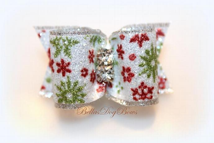 Christmas Dog Bow. Red, Green & White Sparkle Snowflake Bow