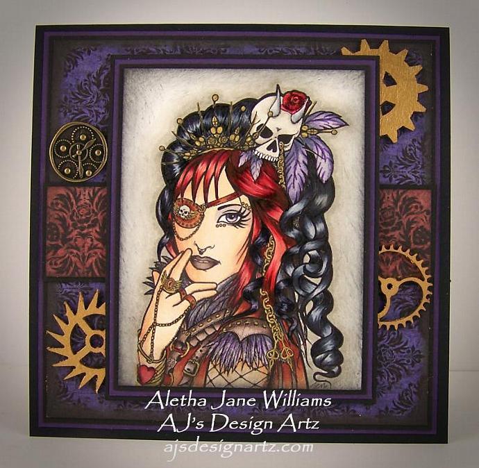Steampunk Gothic OOAK Handmade Art Greeting Card Big Eye Art Handcrafted Aj's