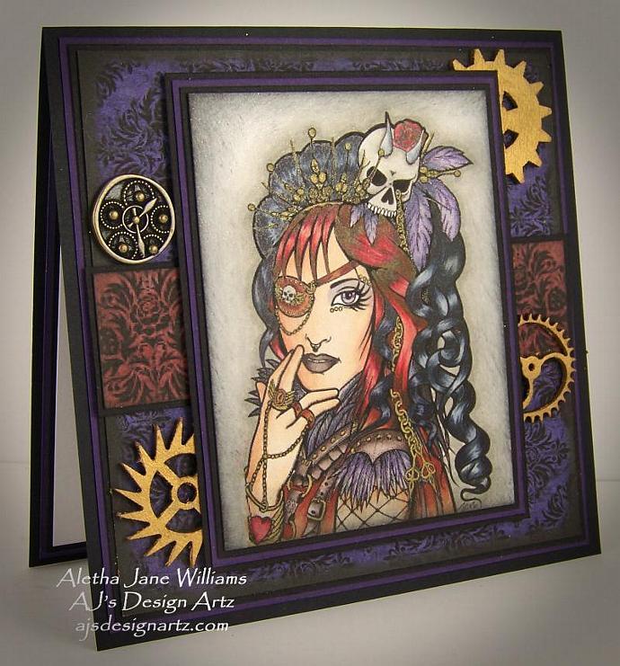 Steampunk Gothic OOAK Handmade Art Greeting Card Big Eye Art