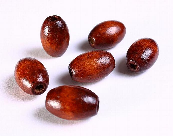 6 Handmade brown coffee oval painted wood beads 21mm x 15mm 6pcs (1080)