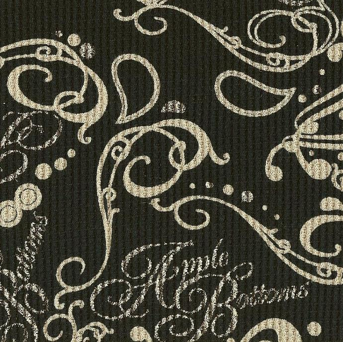 FLOURISH PAISLEY ON BLACK, Cotton Thermal Waffle Knit Fabric, FQ 18x 28 inches