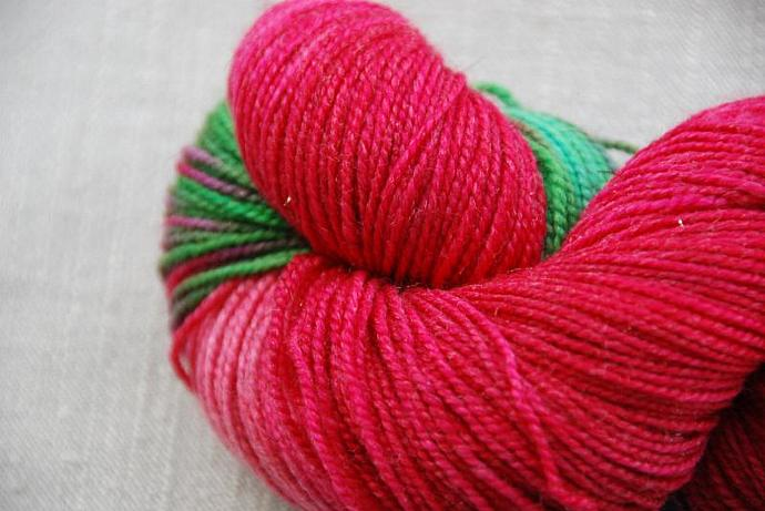 handdyed Yarn, 100g/ 3,5oz , colour Rosengarten