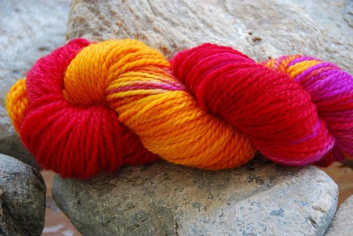 Yarn, handdyed, 100% SW Bfl colour 18