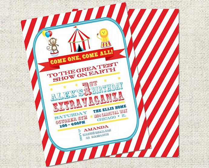 Circus Birthday Invitation Printable Personalized