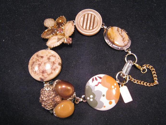 Bridesmaid Gift, Vintage Earring Bracelet, Upcycled, Beige, Copper, Tan, Gold,