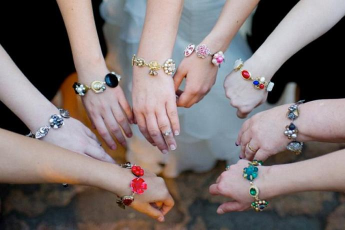 Bridesmaid Gift, Set of 5, Five, Reclaimed Vintage, Earring, Bracelets, Color