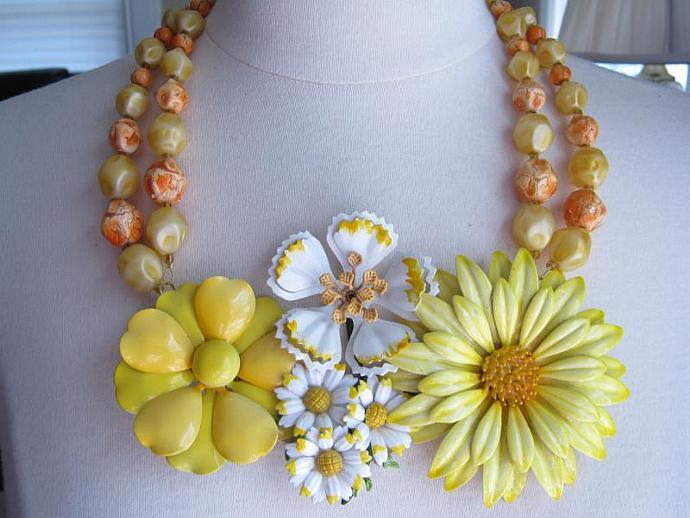 Statement Necklace, Vintage Enamel Flowers, Upcycled Vintage Brooch, Flower