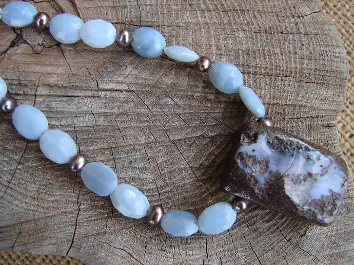 Natural  Boulder Opal Handmade Necklace