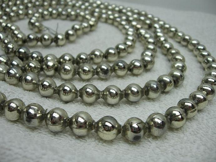 silver mercury glass beads garland ornament christmas decoration vintage - Christmas Beaded Garland Decorations