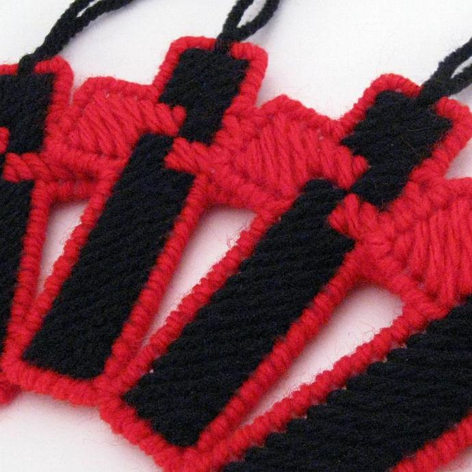 Red and Black Cross Ornament