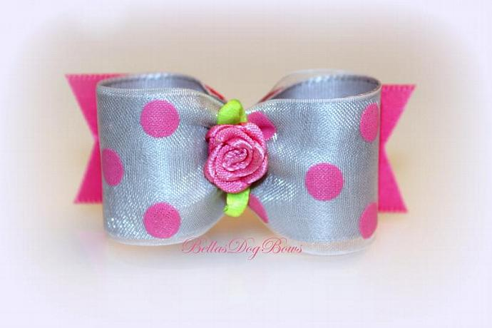 7/8 L - Pink & Grey Dog Bow with Dots and Flower