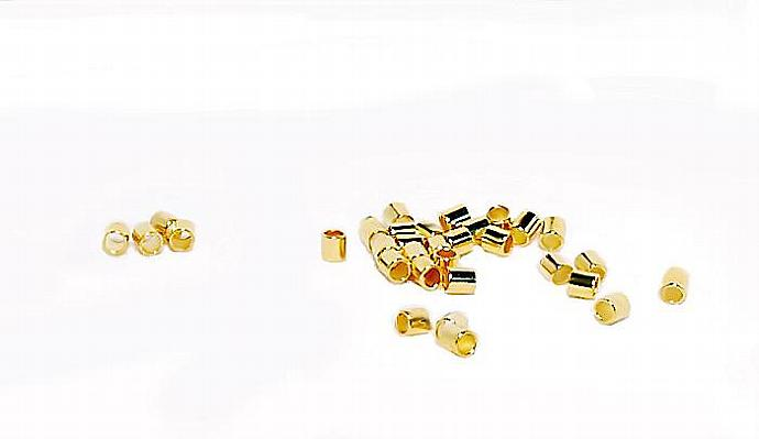 Bright Gold Crimp Tubes-  jewelry findings