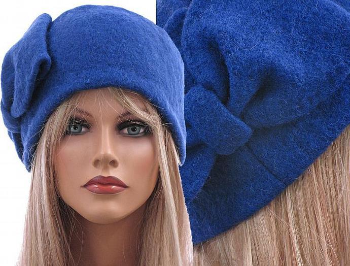 286b351e8c6 Handmade artsy winter hat   cap for women   soft boiled wool in cobalt blue