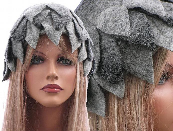 0372699f849 Handmade artsy winter hat   cap for women   soft boiled wool in grey   with
