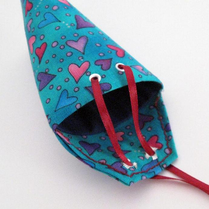 Purple and Pink Hearts on Blue Fabric Gift Pouch or Envelope