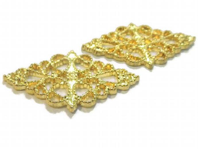 Gold Plastic Love and Filigree Charms Embellishments for Scrapbooking