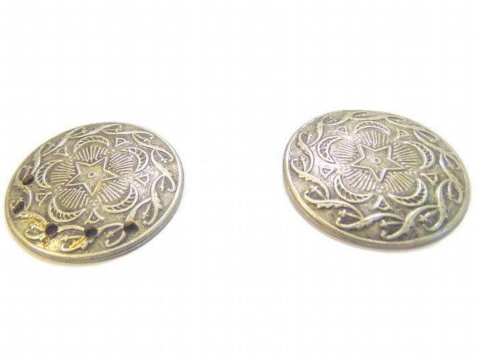 3 Vintage Silver Disc Medallions For Jewelry Scrapbooking Mosaics and More