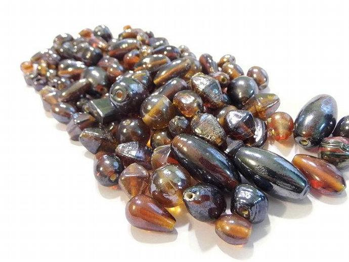 Amber Brown Luster Glass Beads