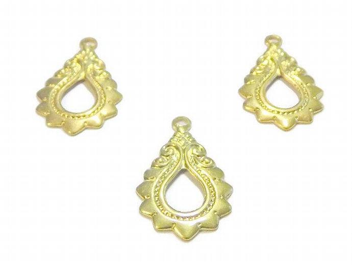 3 Gold Teardrop Charms