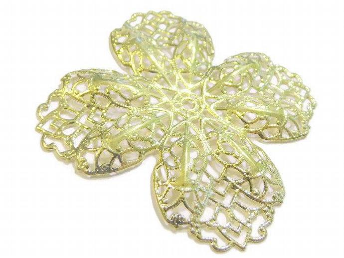 2 65mm Filigree Finding Gold Flower Charm