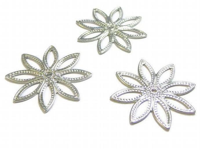 Flat Filigree Flower Finding Silver Charm